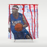 nba Shower Curtains featuring NBA PLAYERS - Allen Iverson by Ibbanez