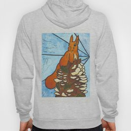 Stained Glass Red Squirrel Hoody