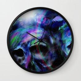 Neon skulls Wall Clock