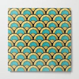 Duck Egg Green Art Deco Fan Pattern Metal Print