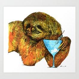 Sloth, off the clock Art Print