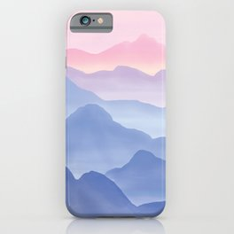 Magical Candy Hand-painted Watercolor Mountains, Airy Mountain Landscape in Pastel Blush Pink, Purple and Blue Color iPhone Case