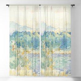 "Henri-Edmond Cross ""Mediterranean Landscape with a White House"" Sheer Curtain"