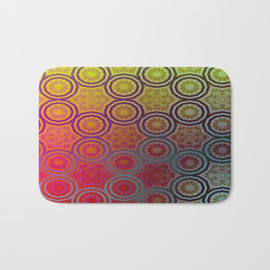 Pink, Purple, Yellow, and Orange Circles and Cogs Bath Mat