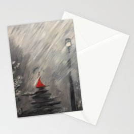Lady in red - Rainy day Stationery Cards