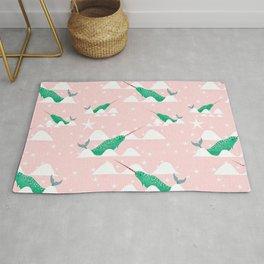 Sea unicorn - Narwhal green and pink Rug