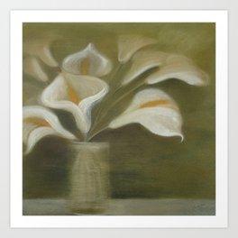 Calla Cut Flowers In A Vase Art Print