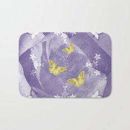 Secret Garden with Gold Butterflies in Ultraviolet Bath Mat