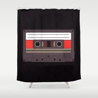 cassette Shower Curtains featuring Compact Cassette by Marc Steen