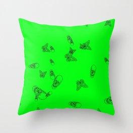 Green Skulls Throw Pillow