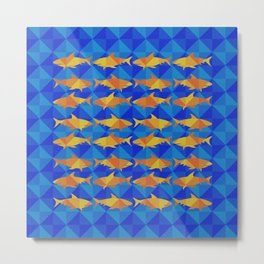 Orange Sharks On Blue Square. Metal Print
