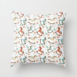 Rocking horses pattern Throw Pillow