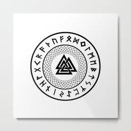 Valknut - Wotans Knot - Odin Rune Metal Print