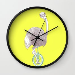 Ostrich on Monocycle Wall Clock