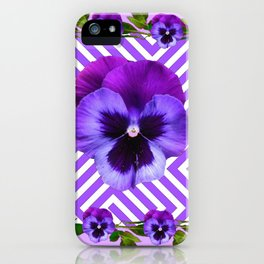 LILAC PURPLE ON PURPLE PANSIES  FLOWERS PATTERNS iPhone Case
