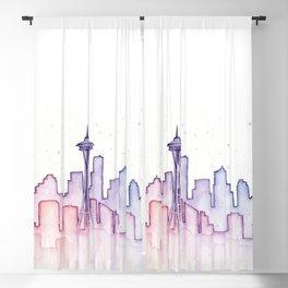 Seattle Skyline Watercolor Blackout Curtain