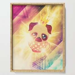 Kawaii pug flying in a cup lightings and starry texture Serving Tray