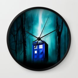 TARDIS BLUE EXPLODES Wall Clock