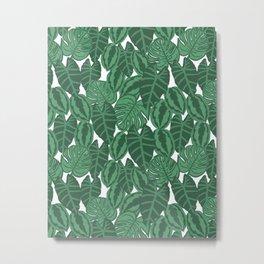 Botanical tropical pattern leaves painting watercolor free spirit boho modern pattern garden house Metal Print