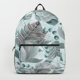 Watercolor Leaf And Succulent Pattern Backpack