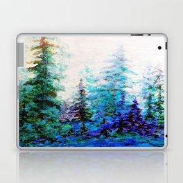 Mountain Landscape Pines In Blue-Greens-Purple Laptop & iPad Skin