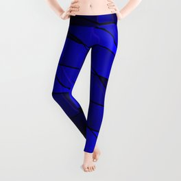 Mirrored gradient shards of curved blue intersecting ribbons and horizontal lines. Leggings