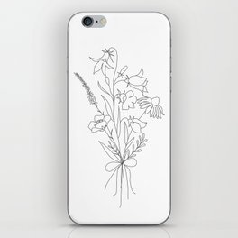 Small Wildflowers Minimalist Line Art iPhone Skin