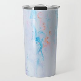 off white purple and blu psychedelic abstract paint pour Travel Mug