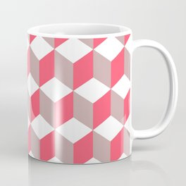 Diamond Repeating Pattern In Poppy and Soft Grey Coffee Mug