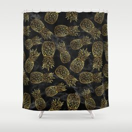 Modern geometric gold pineapples design Shower Curtain