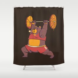 Squat Bear Gym I Love to Eat Pizza Shower Curtain
