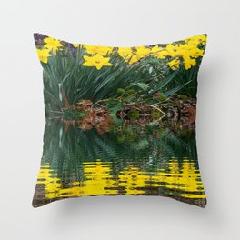 PUCE & YELLOW DAFFODILS WATER REFLECTION PATTERN Throw Pillow