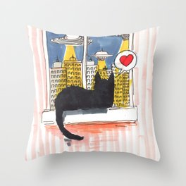 cat love aliens Throw Pillow