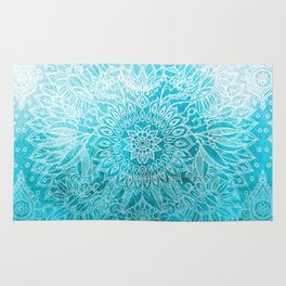 Fade to Teal - watercolor + doodle Rug