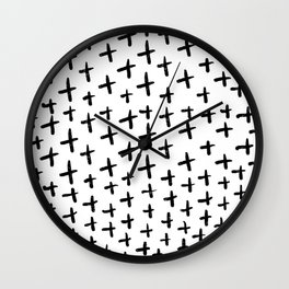 simple modern black and white crosses pattern illustration Wall Clock