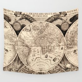 Vintage Map of The World (1630) Wall Tapestry