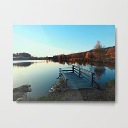 Indian summer sunset at the fishing lake II | waterscape photography Metal Print