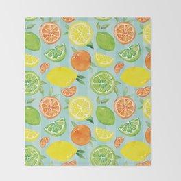 Zesty Citrus Pattern Throw Blanket