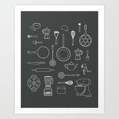 kitchen tools (white on black) Art Print