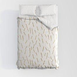 Elegant geometrical faux gold stripes confetti Comforters