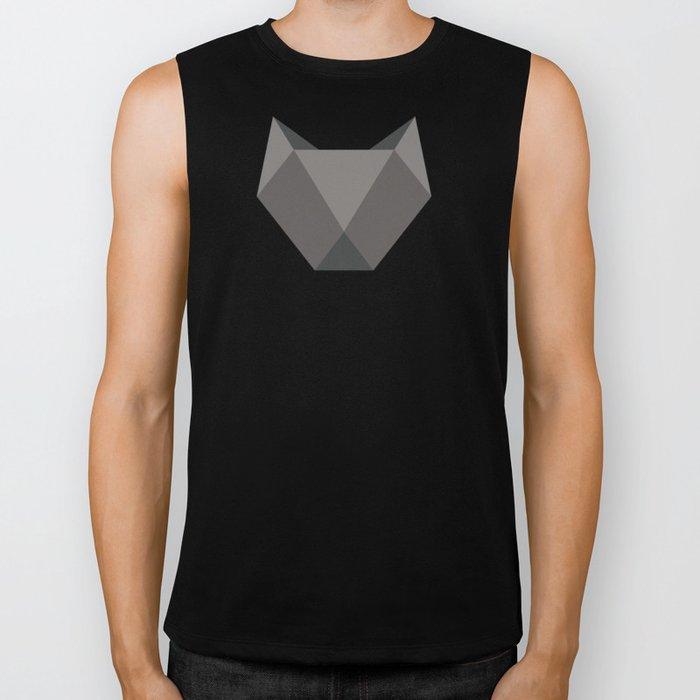 Geometric origami black cat Biker Tank