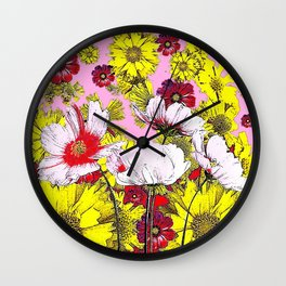 GARDEN FLOWERS IN  PINK-YELLOW- RED DRAWING Wall Clock