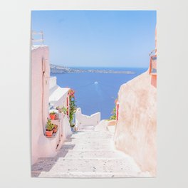 Santorini Greece Mamma Mia pink street travel photography Poster