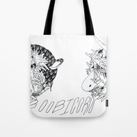 boob Tote Bags featuring boobicorn by Kira Leigh