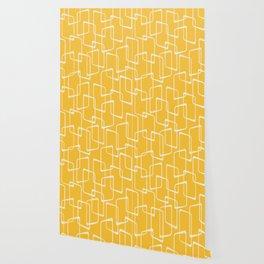 Retro Yellow Geometric Shapes Pattern Wallpaper