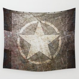 Army Star on Distressed Riveted Metal Door Wall Tapestry