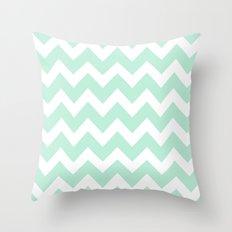 Chevron Mint Green & White Throw Pillow