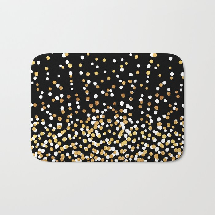 Floating Dots - White and Gold on Black Bath Mat