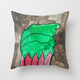 Sweet Cupcake Confections Green Frosting With Red Cherry Watercolor Throw Pillow