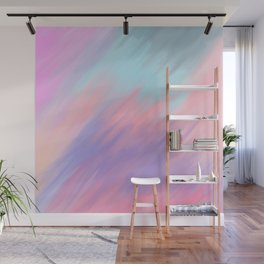 Modern abstract artsy pink lavender teal brushstrokes Wall Mural